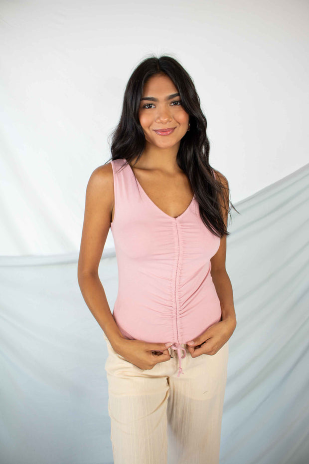 Shore Thing Ruched Tank Top Pink