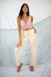 Lost Without You Linen Pants Beige