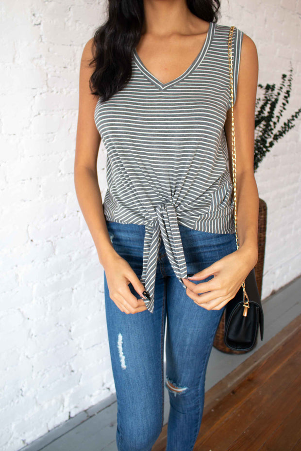 Just Say It Striped Top Charcoal