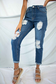 Jenna Distressed Mom Jeans Dark Medium