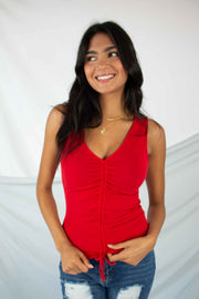 Shore Thing Ruched Tank Top Red