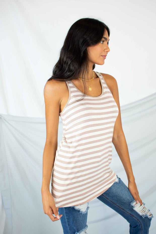 Striped and Steady Tank Top Taupe