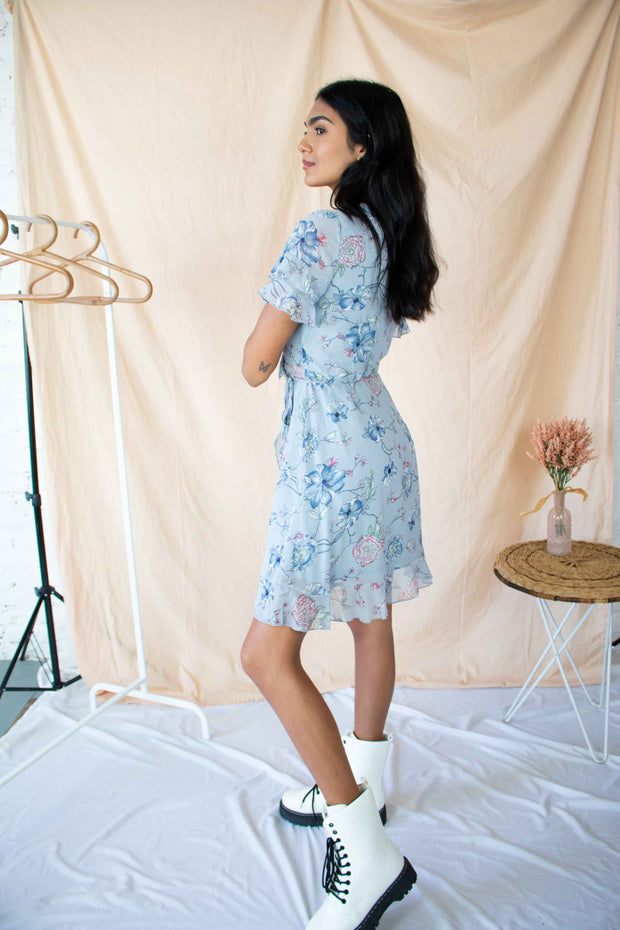 Sweeter Place Floral Wrap Dress Blue