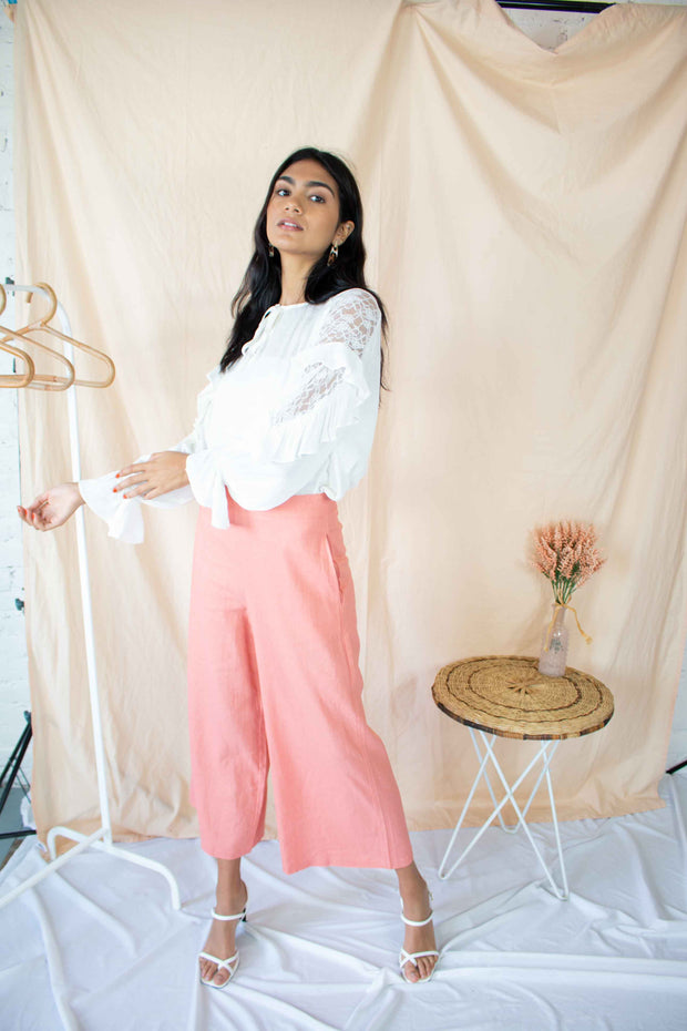 Kept Close Wide Leg Pants Salmon