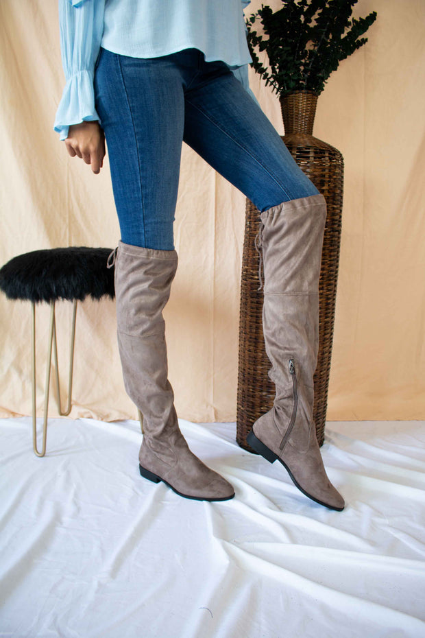 No Stomping Me Thigh-High Boots Taupe
