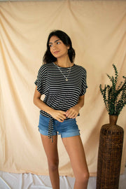 Never As Easy Striped Top Black