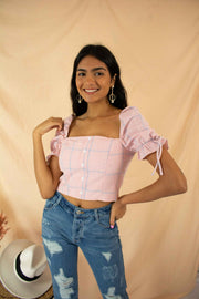 Checked In Crop Top Pink
