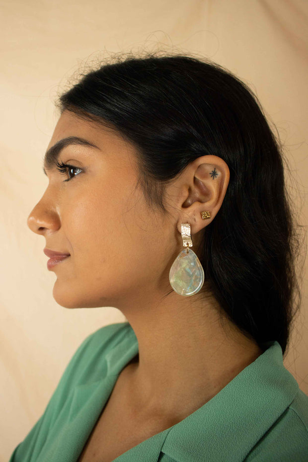 Resin Teardrop Disc Dangle Earrings