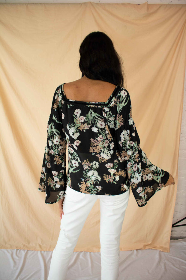 Full Bloom Floral Sheer Top Black
