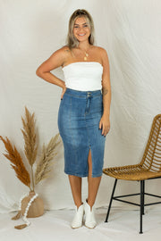 Think Your Slick Denim Skirt