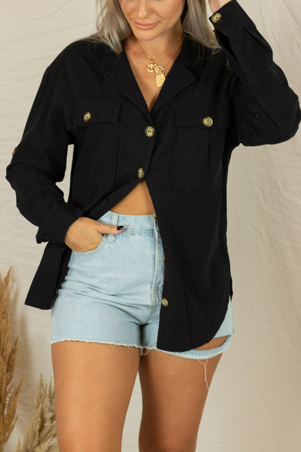 Put To Work Button Up Top Black