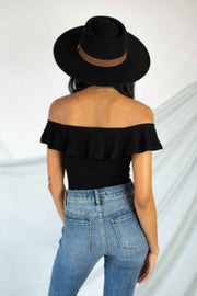 Ruffles Retreat Off The Shoulder Bodysuit Black