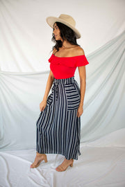 Take It Breezy Striped Maxi Skirt Navy