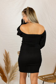 My Love Is Yours Ruched Dress Black