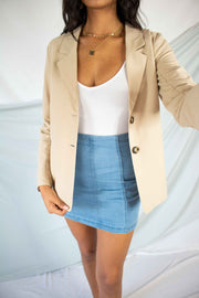 None Of Your Business Blazer Beige