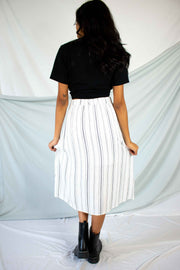 Creative Energy Striped Midi Skirt Ivory