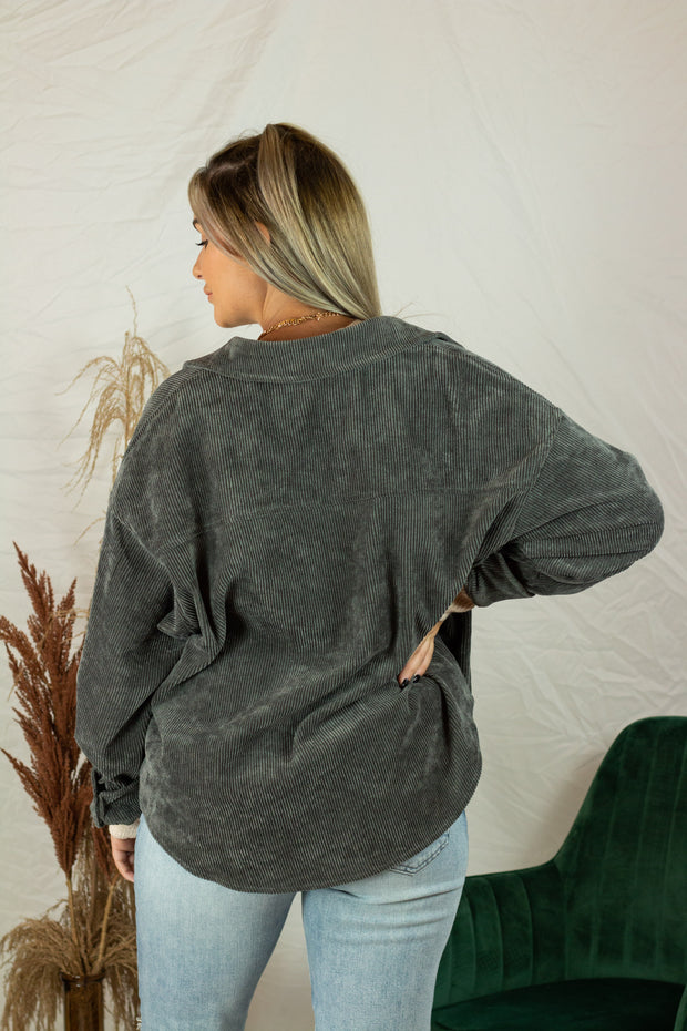 Winter Nights Corduroy Shacket Charcoal
