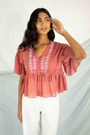 Beachy Keen Peplum Top Rose