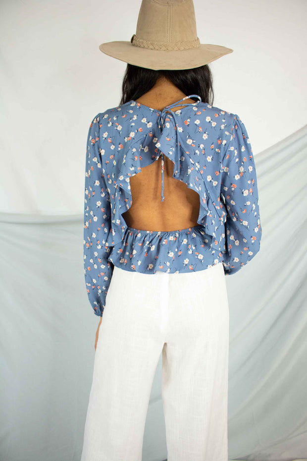 At First Sight Floral Top Blue