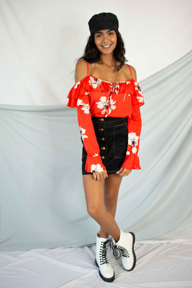 Summer Floral Cold Shoulder Top Red