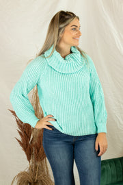 Night Cowl Chenille Sweater Mint