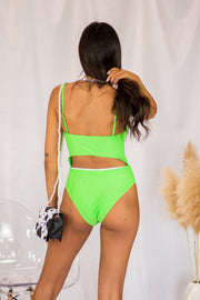 Mina Cutout One Piece Lime Green