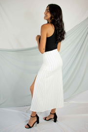 Tell Me Goodnight Striped Skirt Ivory