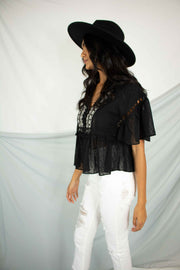Beachy Keen Peplum Top Black