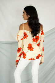 Summer Floral Cold Shoulder Top Cream
