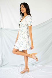 Floral Fantasy Button Down Dress Cream