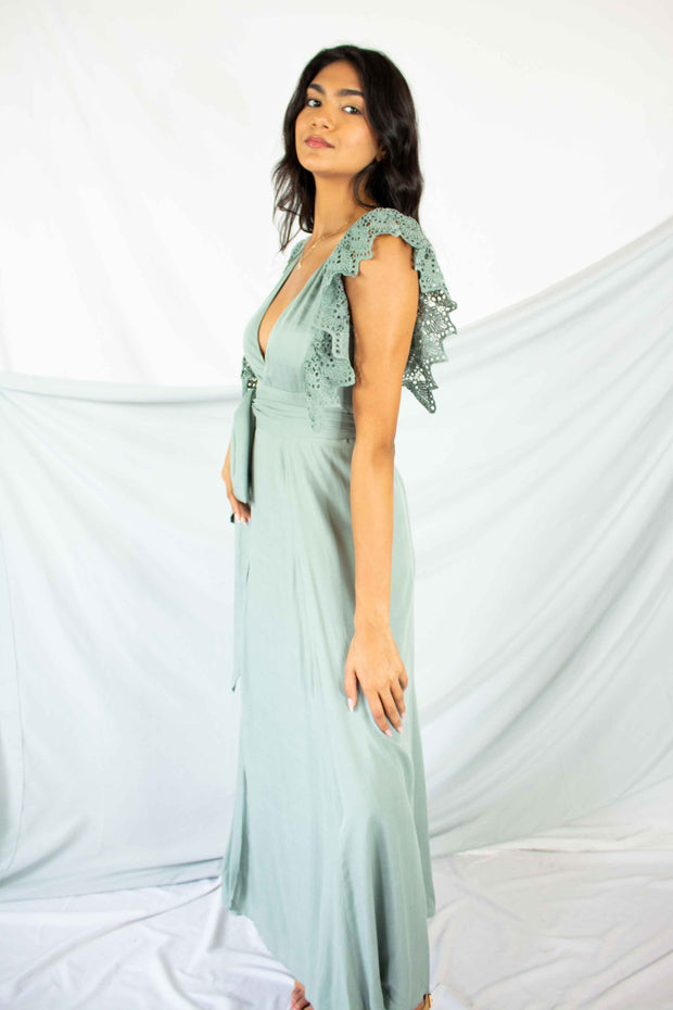 It's a Long Story Wrap Maxi Dress Sage