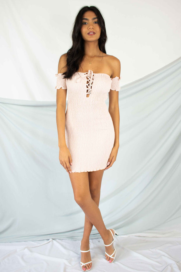 Miss Behaving Smocked Dress Blush
