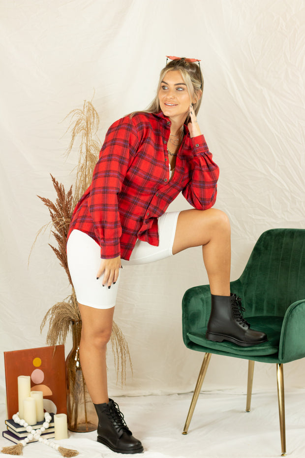 Evan Flannel Top Red