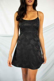 Sheer Romance Mini Dress Black