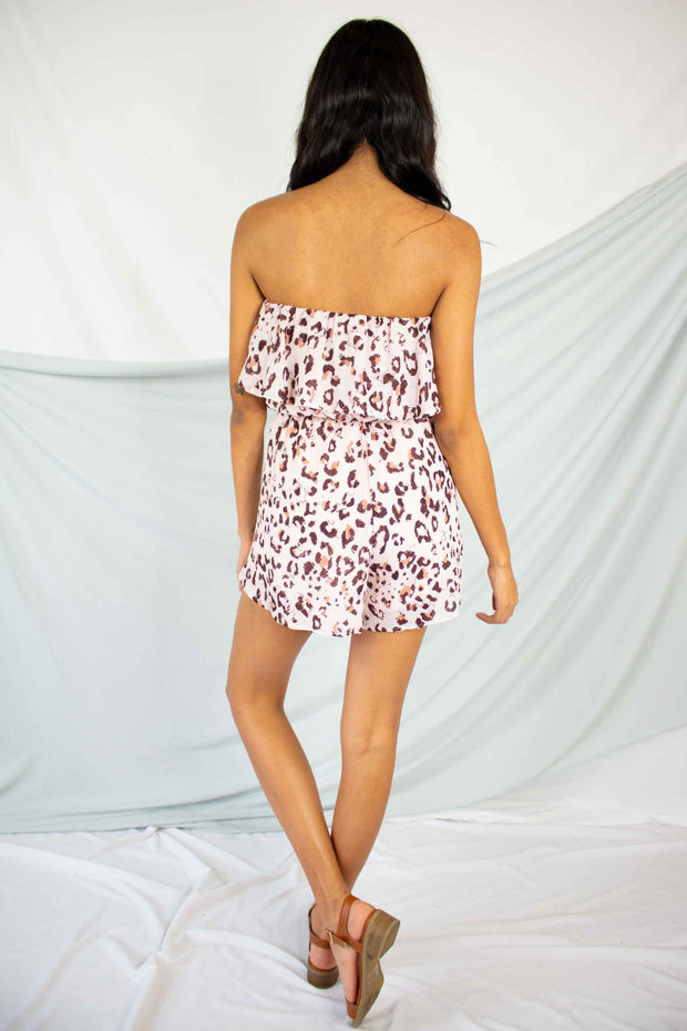 Wildest Ride Strapless Romper Pink