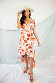 Rose To The Occasion Floral Wrap Dress Light Blue