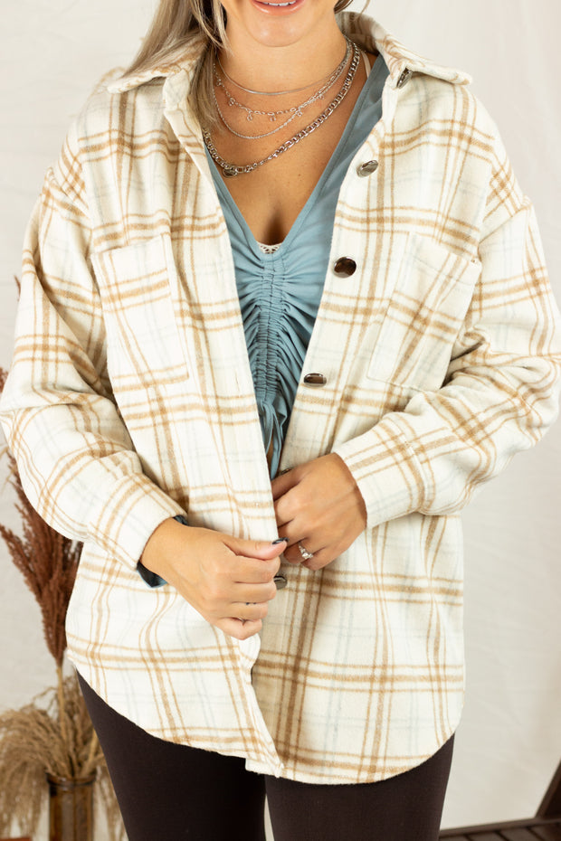 Autumn Calling Flannel Shacket Taupe/White