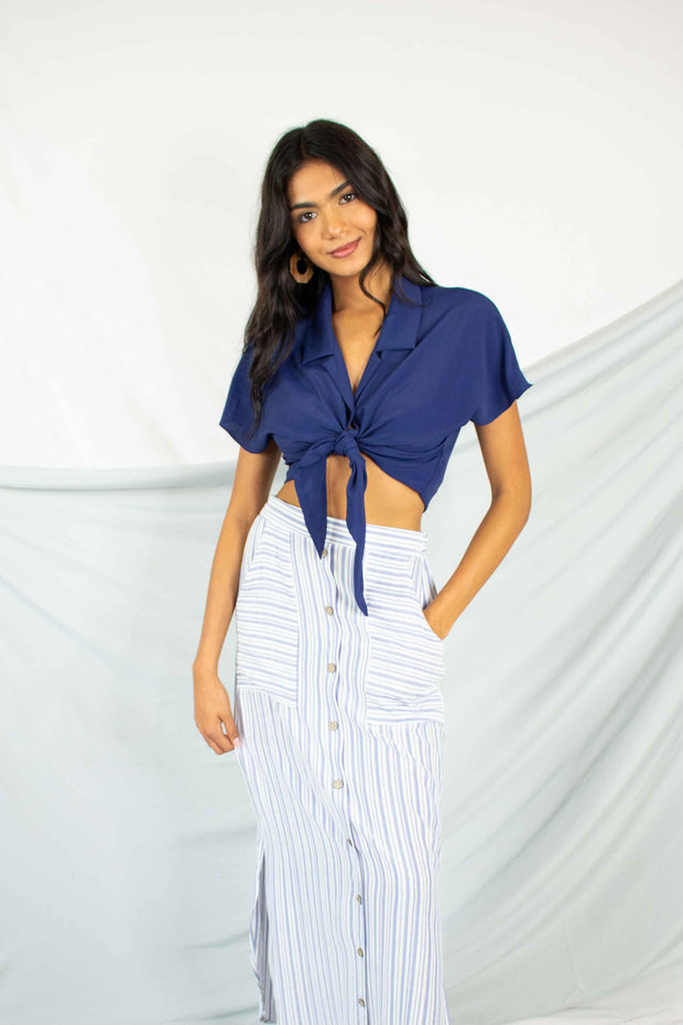 All Of A Button Tied Crop Top Navy