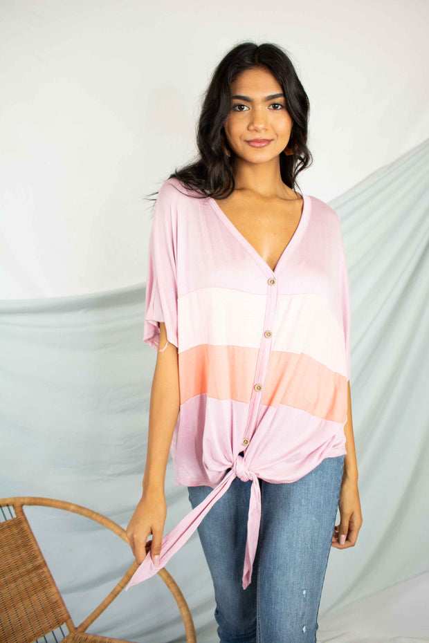 Straight Line Color Block Top Pink