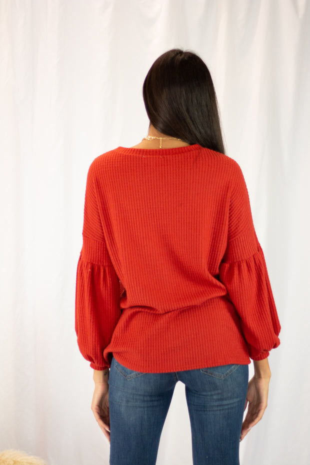 Classically Cozy Knit Sweater Rust