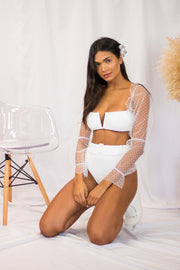 Heather Belted Bottoms White