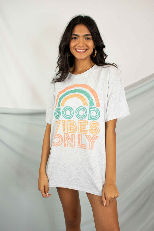 Good Vibes Graphic Tee Heather Grey