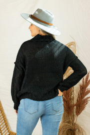 Chilly Evenings Knit Sweater Black