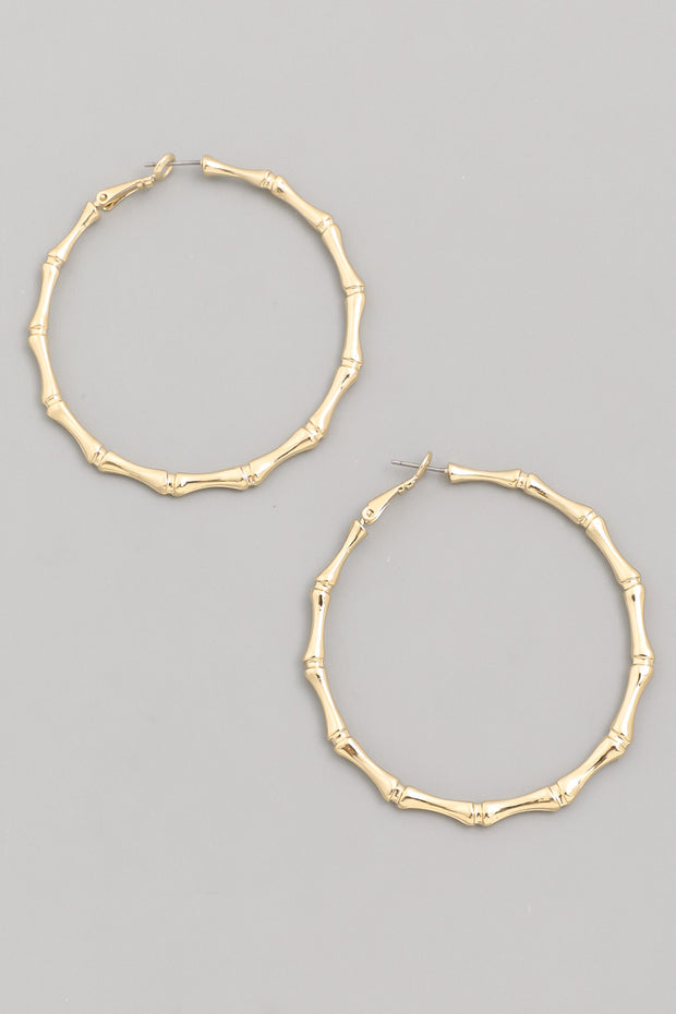 Bamboo Full Hoop Earrings