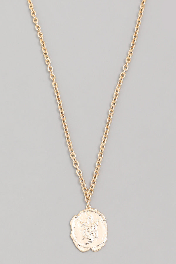 Brushed Chain Hammered Coin Necklace