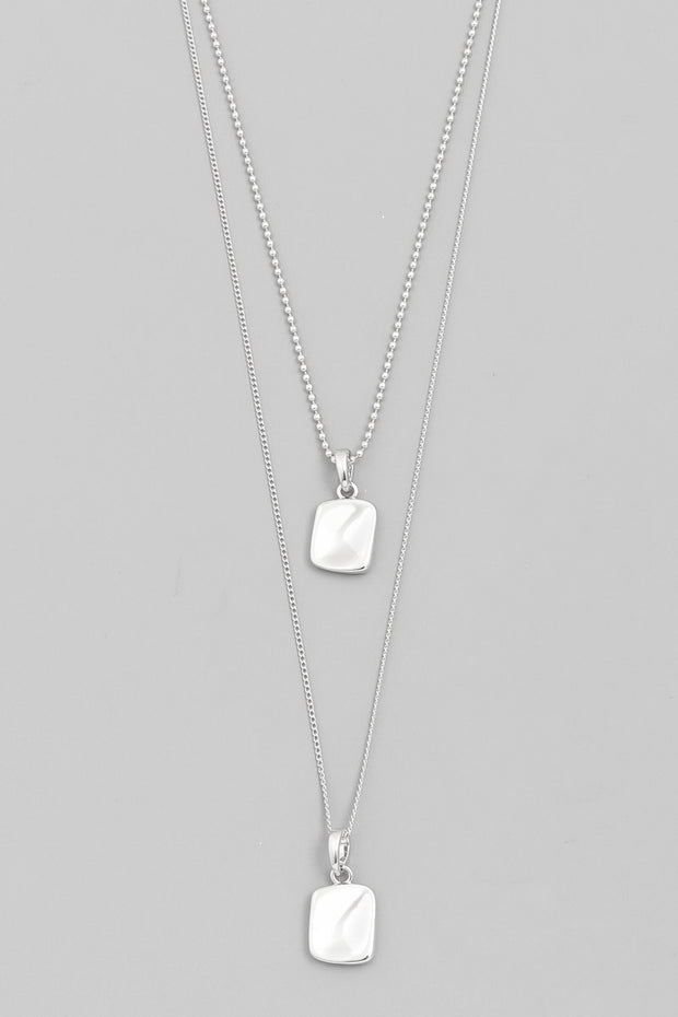 Layered Square Pendant Necklace