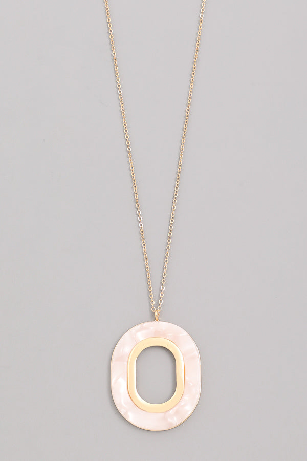 Polished Oval Pendant Necklace