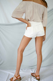 Traces of You Denim Shorts White