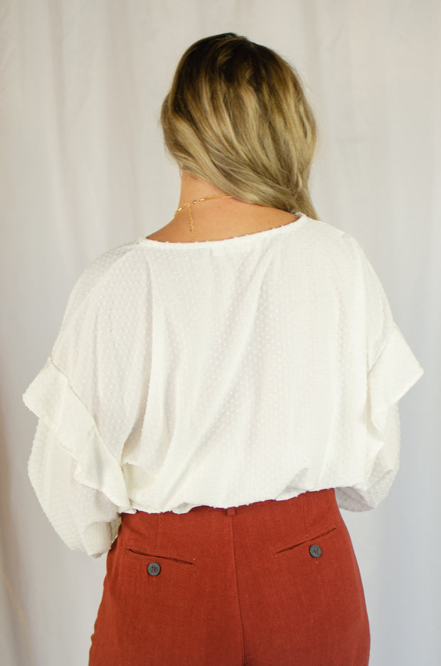Making Wishes Ruffle Top Ivory