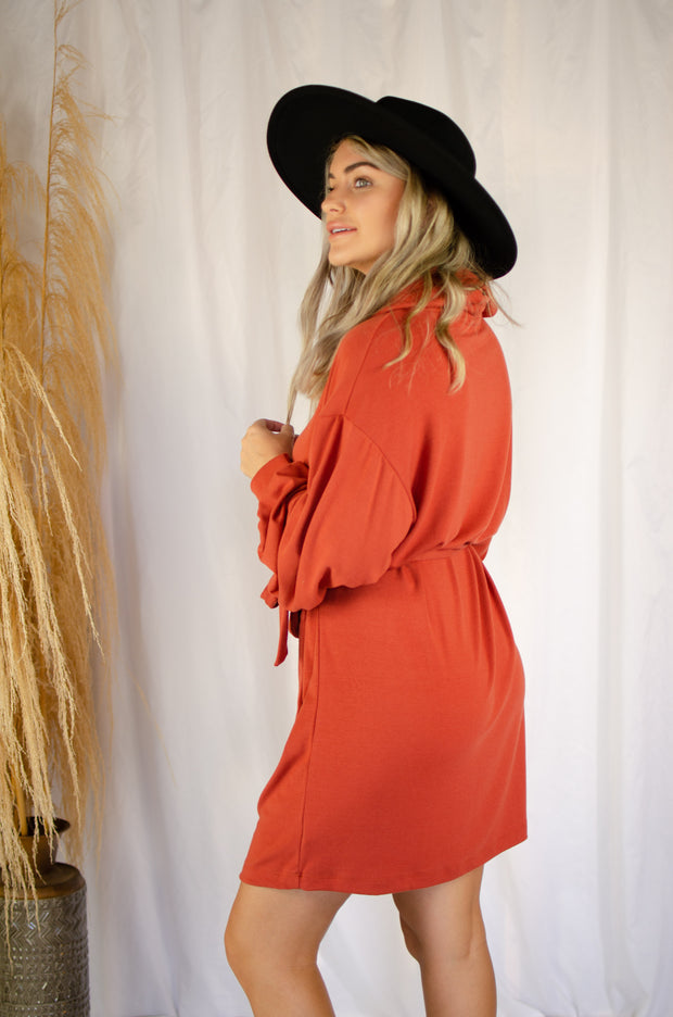 Pumpkin Spice Cowl Neck Dress